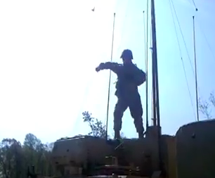 Dancing like Carlton from Fresh Prince on top of a M1068 in full gear. TFM.