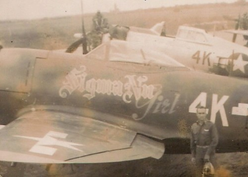 """""""Sigma Nu Girl"""" of the 404th Fighter Group.  Hazing the Krauts from above in the final years of the war. TFM."""