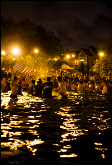 The Ohio State University knowing how to celebrate America by jumping in Mirror Lake. TFM.