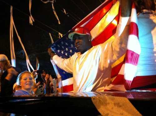 7th overall pick Aldon Smith raging in Greek Town after the US hazed Osama. TFM.