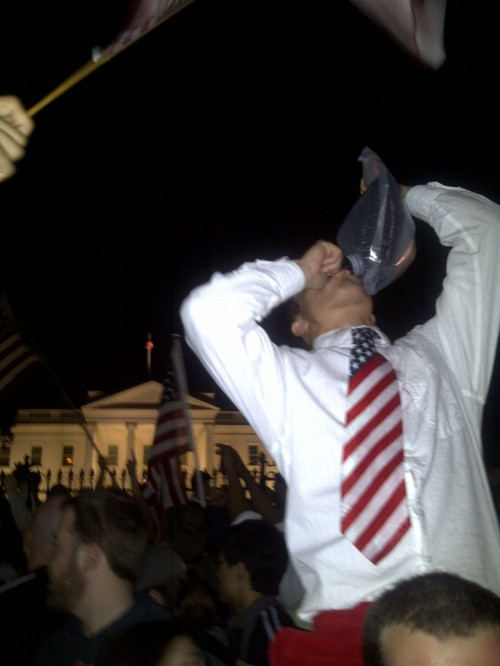 Drinking Osama blood out of a wine bag. TFM.