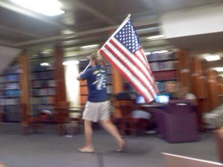 Running through the library with Old Glory. God Bless the USA. TFM.
