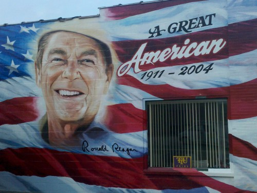 Ronald Reagan painting on the side of the Republican Party Headquarters in Cookeville, TN.