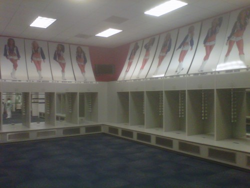 Inside the locker room of the cheerleaders for the Dallas Cowboys.
