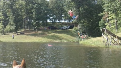 The bike ramp into the lake shotgun. TFM.
