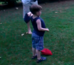 3 year old corn-hole prodigy