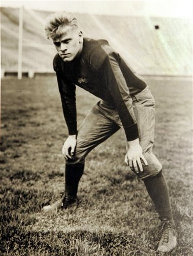 Gerald R. Ford (ΔKE-Omicron), linebacker and center for the University of Michigan, helped lead the Wolverines to undefeated seasons in 1932 and 1933 and is the only U.S. president to tackle a future Heisman Trophy winner (Jay Berwanger).