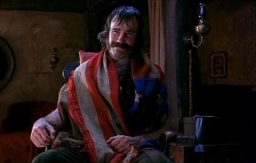 """Bill """"The Butcher"""" Cutting draped in America."""