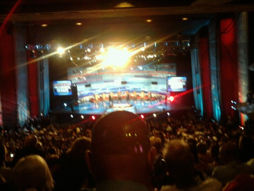 Watching the debate from the audience, rather than TV.