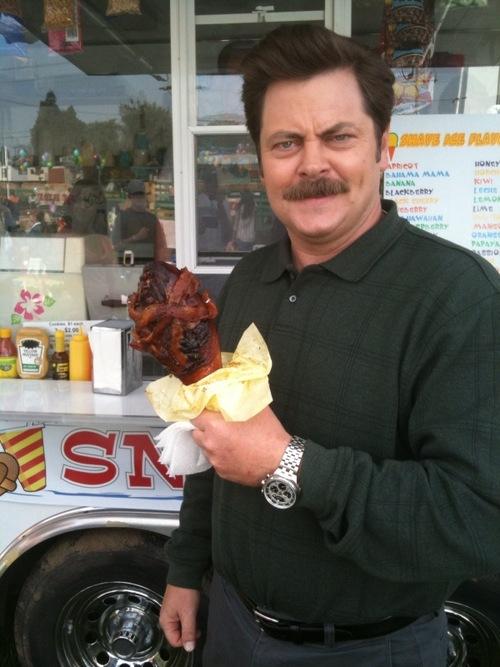 Ron Swanson's diet: bacon wrapped turkey leg. TFTC.