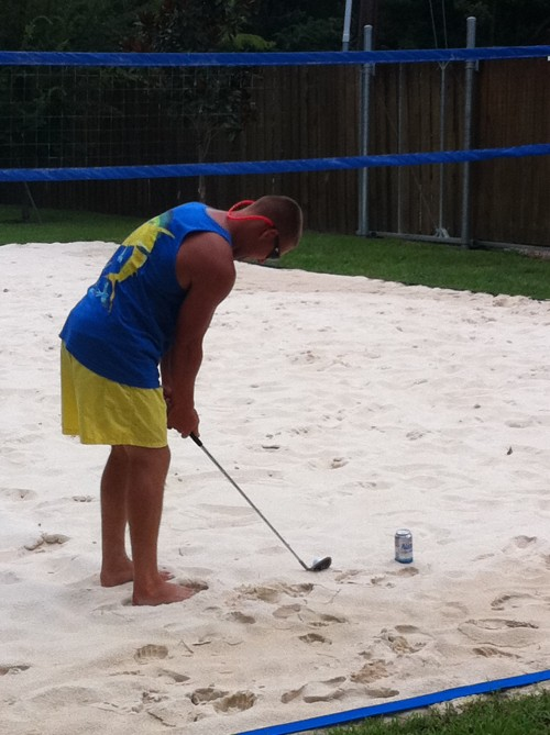 The volleyball court doubles as a sand trap. TFM.