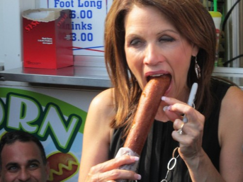 Michele Bachmann taking a footlong and enjoying every inch of it.