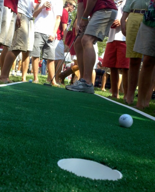 Putting green at the tailgate. TFM.