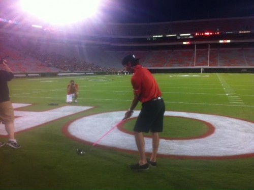 Bubba teeing off on the field in Samford Stadium. TFM.