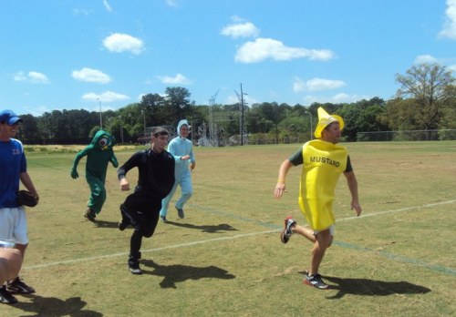 Gumby is struggling in this Pledge Race.