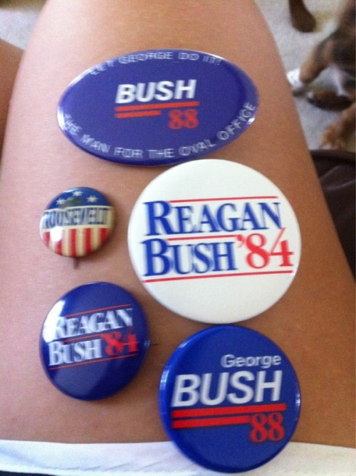 Grandpa passing along his political buttons. TFM.