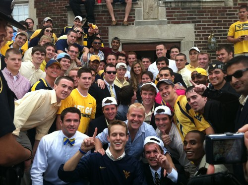 Erin Andrews came up to the frat castle during GameDay.