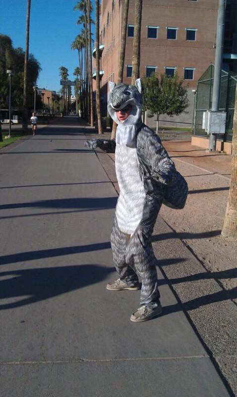 Squirrel pledge walks around campus asking random girls if they like his nuts.