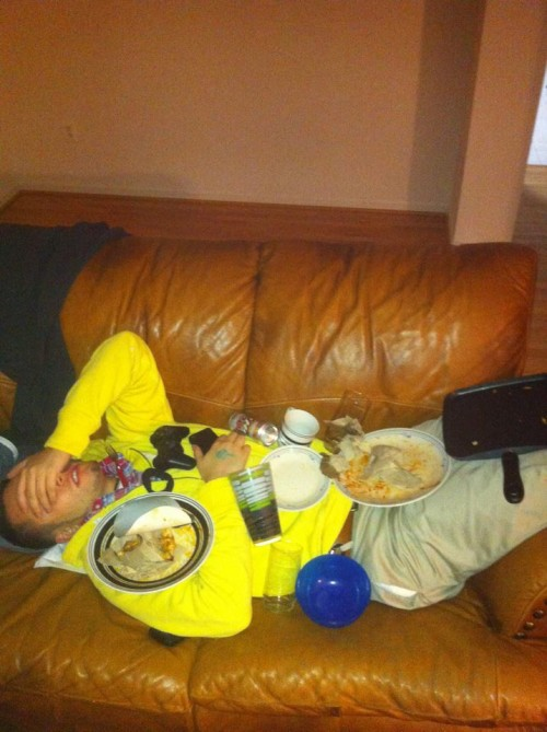 Too drunk to taste any of that food.
