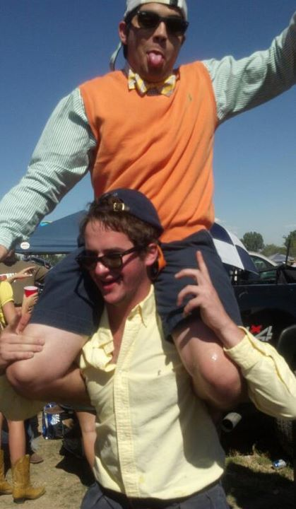 Pledge rides at the tailgate. TFM.