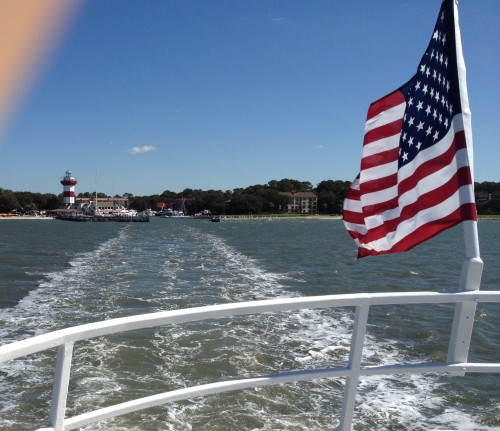 Leaving Hilton Head on a bridge. NF. Departing from Yacht Basin. TFM.