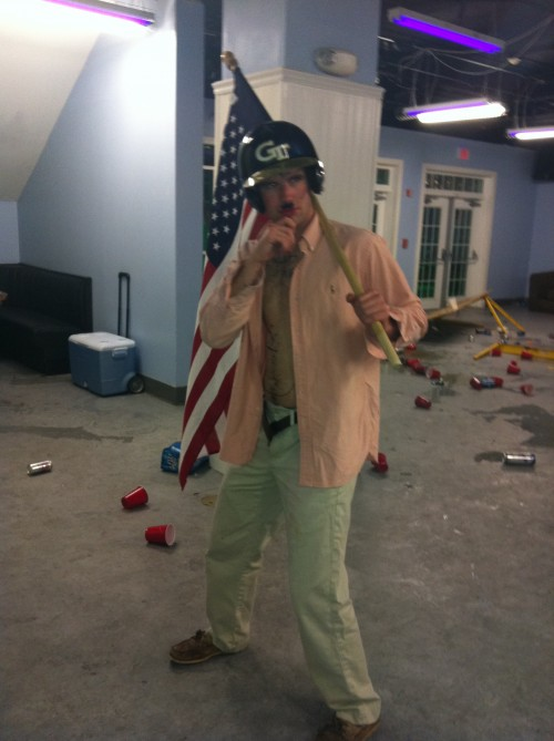 Raging with a baseball helmet and an American flag. TFM.