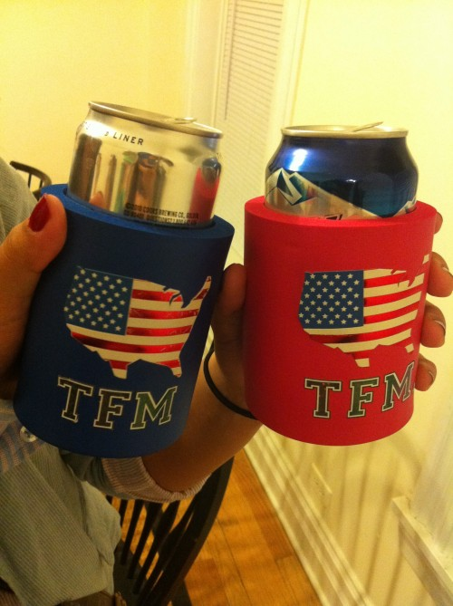 Handcrafted TFM koozies.