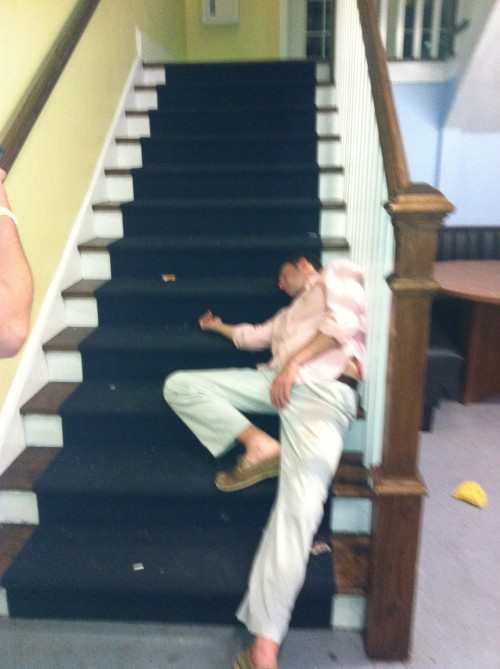 The stairs looked like a good place to pass out.