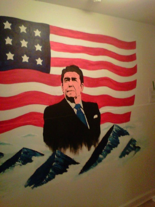 The new mural in the frat castle.