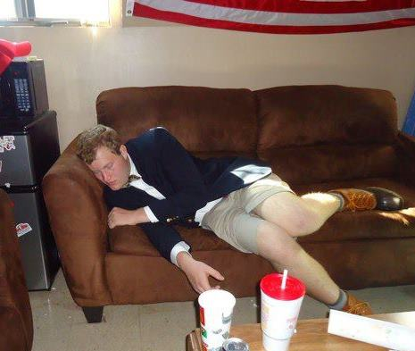 Passing out at noon before the game with a blazer, shorts, and duck boots. TFTC?