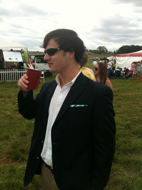Using a SoPro koozie as a pocket square at Steeplechase. TFM.
