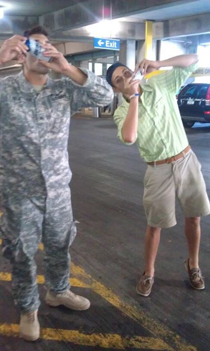 Shotgunning with your brother the moment he comes back from Iraq. TFM.