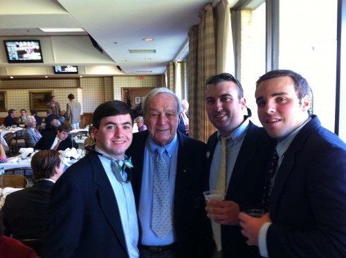 Just having a drink at the races with Arny.