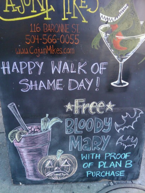 Happy Walk of Shame Day! Free Bloody Mary with proof of Plan B purchase.