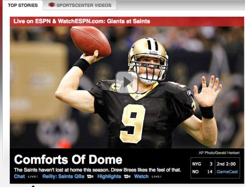 ESPN's caption: Comforts of Dome. TFM.