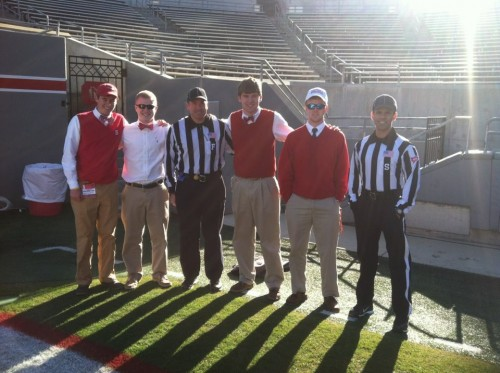 Pregame meeting with the refs to make sure we are on the same page. TFM.