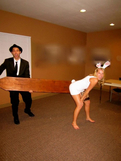 A Blues Brother, a giant paddle. and a sexy bunny.