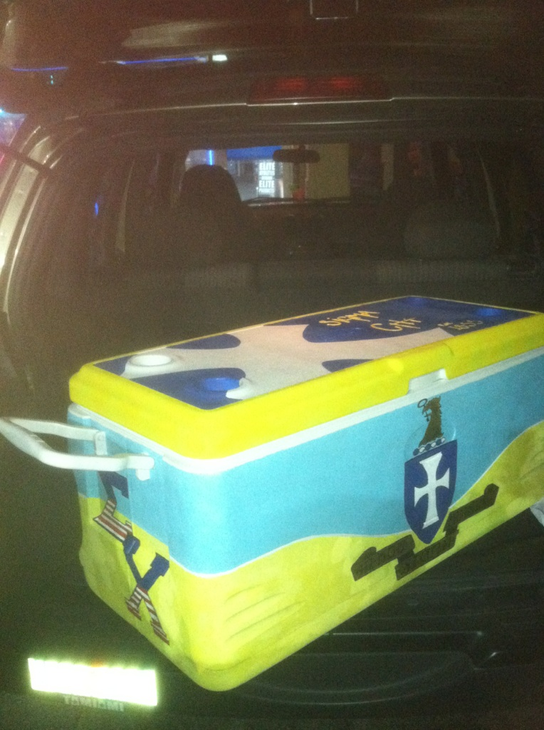 Our new cooler delivered to us by the Sweetheart and her friends. TFM.