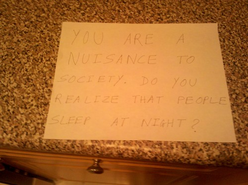 Another normal weekend note from the neighbors. TFM.
