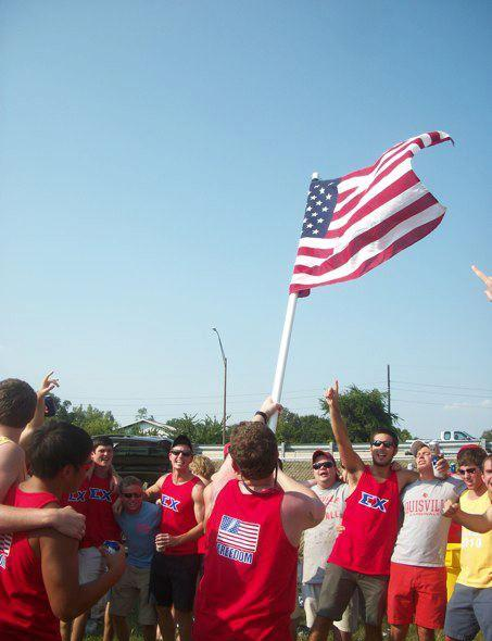 """Ending tailgate with """"God Bless the USA"""" and freedom tanks. TFM."""