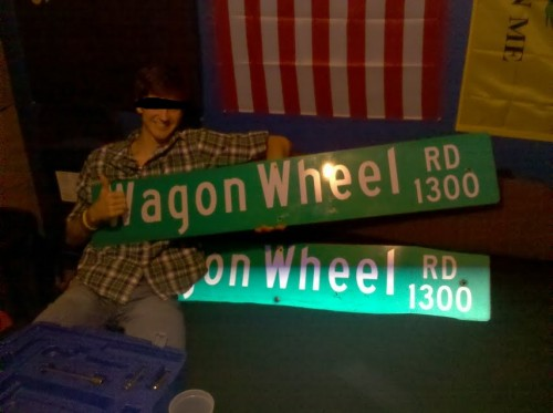 Wagon Wheel street signs anyone?