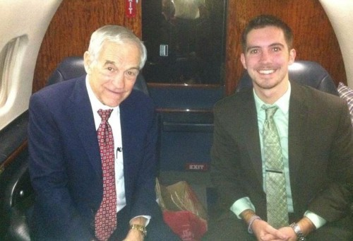Campaigning with Ron Paul on his private jet.