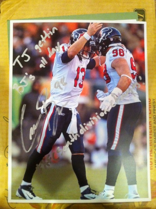 "Texans linebacker Connor Barwin signs photo with TJ Yates: ""TJ gettin BJ's all day"""