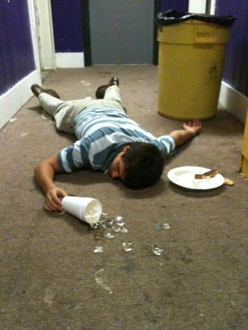 Man down after late night drunk meal.