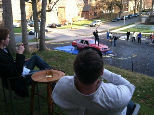 Slamming whiskey and cigars while slams slam cars. TFM.