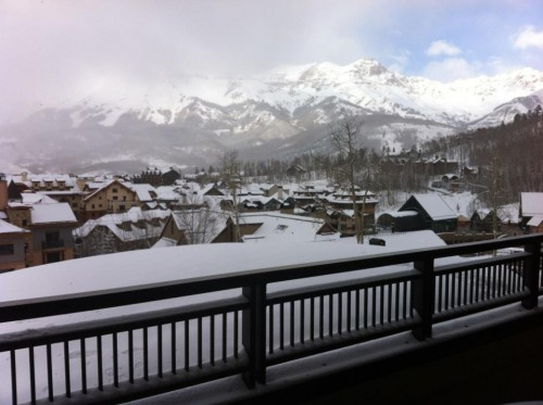 Christmas in Telluride, CO. View from the top floor of our condo. TFM.