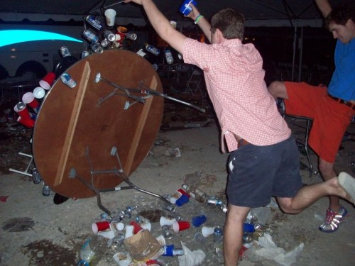 Flipping tables and causing mayhem because it's fucking fun. TFM.