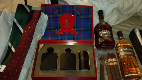 Jos A Banks Ties, Single Malt scotch, Padron Cigars and Ralph Lauren Black.
