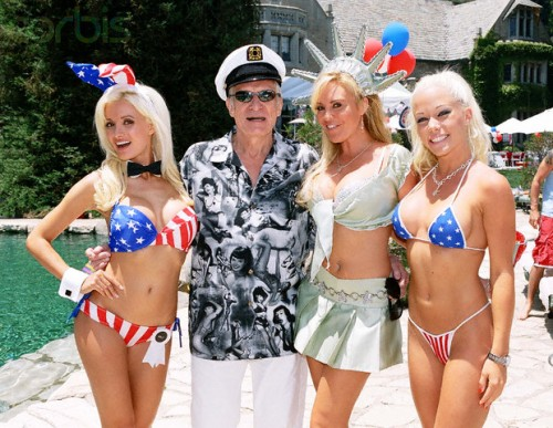 Hef and the girls celebrating America. TFM.