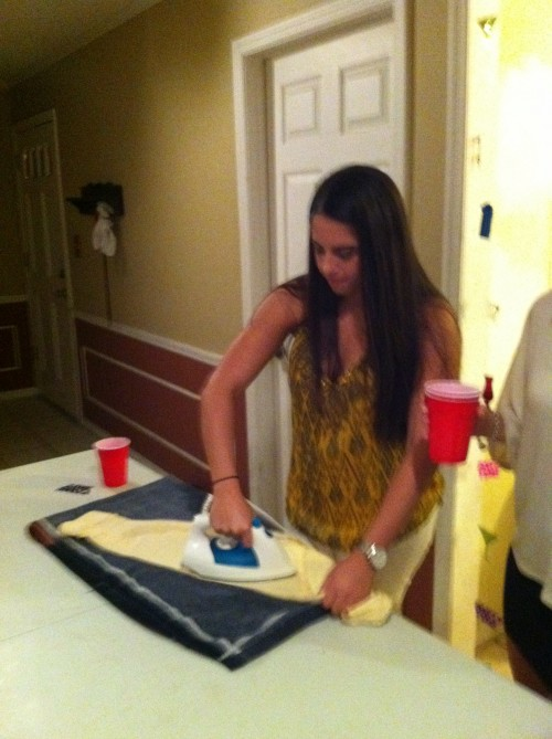 Making her iron my shirt before I head to the bars. TFM.
